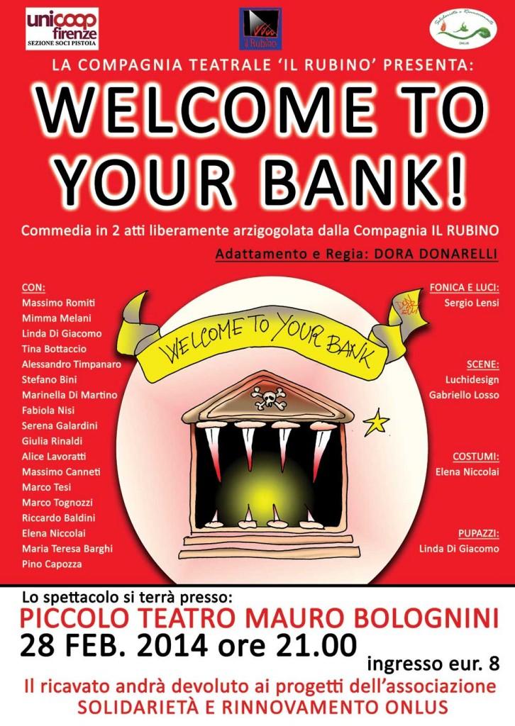 welcome to your bank compagnia Rubino Pistoia Dora Donarelli Linda Di Giacomo SPETTACOLI DI BURATTINI A PISTOIA PRATO FIRENZE LUCCA PISA TOSCANA GTP GRAN TEATRO DEI PICCOLI ASSOCIAZIONE CULTURALE LAB bambini